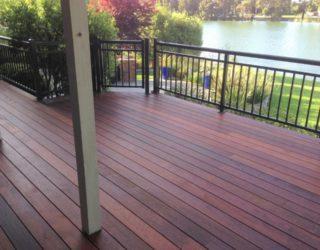 Merbau deck metal railing